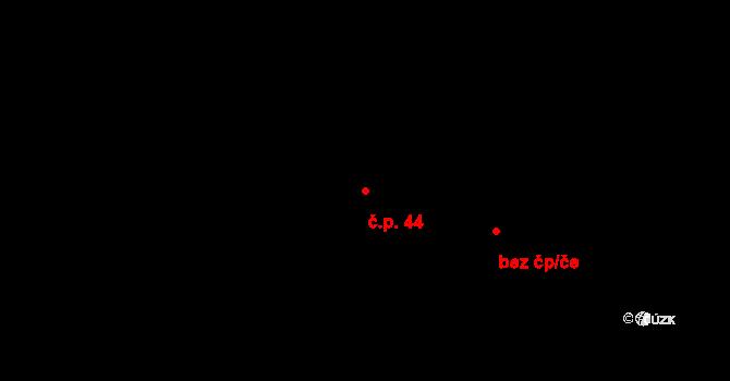 Dolní Ředice 44 na parcele st. 181/1 v KÚ Dolní Ředice, Katastrální mapa