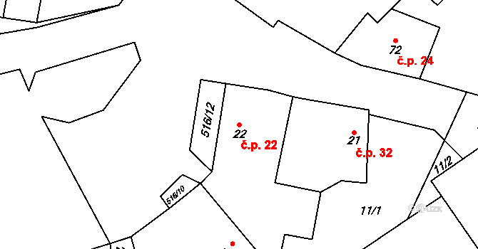Sudoměř 22 na parcele st. 22 v KÚ Sudoměř, Katastrální mapa