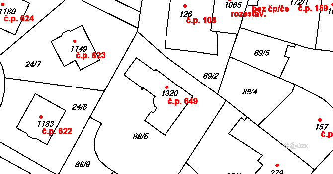 Rosice 649, Pardubice na parcele st. 1320 v KÚ Rosice nad Labem, Katastrální mapa