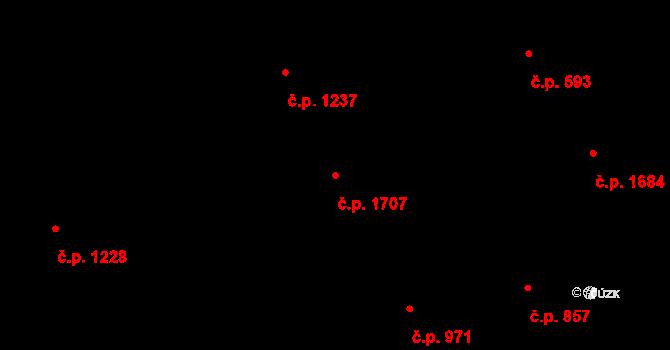 Kyje 1707, Praha na parcele st. 1764/2 v KÚ Kyje, Katastrální mapa