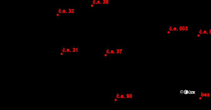 Prštné 37, Zlín na parcele st. 836 v KÚ Prštné, Katastrální mapa