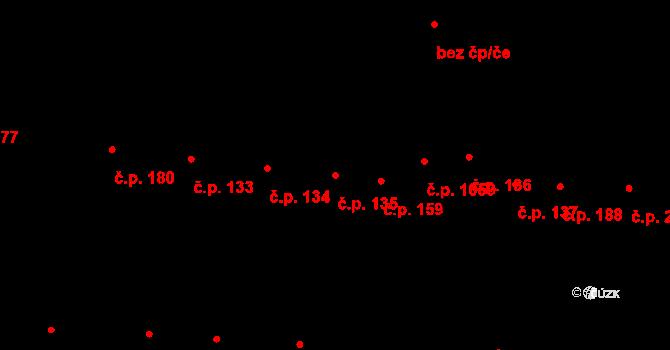 Újezd u Brna 135 na parcele st. 117 v KÚ Újezd u Brna, Katastrální mapa