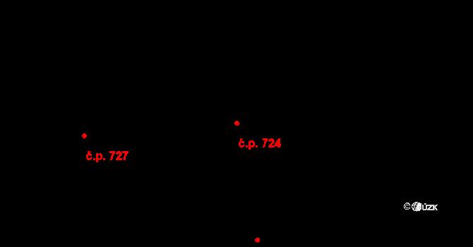 Prštné 724, Zlín na parcele st. 1161 v KÚ Prštné, Katastrální mapa
