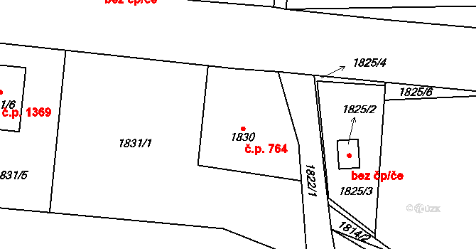 Nýřany 764 na parcele st. 1830 v KÚ Nýřany, Katastrální mapa