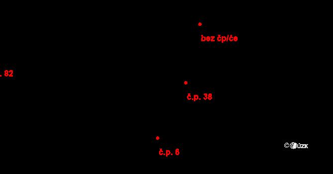 Zámostí 38, Písková Lhota na parcele st. 37 v KÚ Písková Lhota, Katastrální mapa