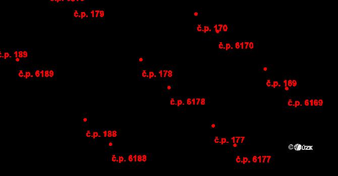 Mladcová 6178, Zlín na parcele st. 257/2 v KÚ Mladcová, Katastrální mapa