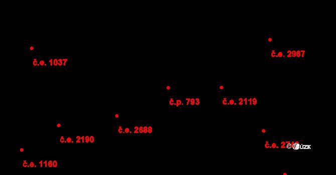 Litice 793, Plzeň na parcele st. 3147 v KÚ Valcha, Katastrální mapa