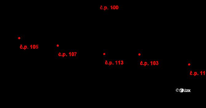 Vepřová 113 na parcele st. 190 v KÚ Vepřová, Katastrální mapa