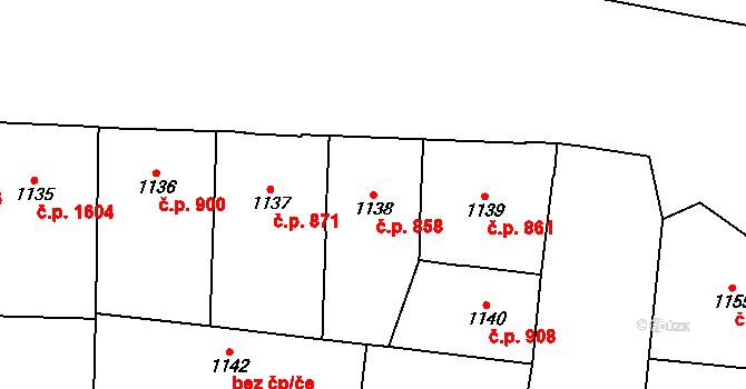 Vinohrady 858, Praha na parcele st. 1138 v KÚ Vinohrady, Katastrální mapa