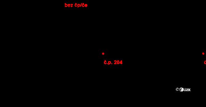 Studánka 204 na parcele st. 305 v KÚ Studánka u Tachova, Katastrální mapa