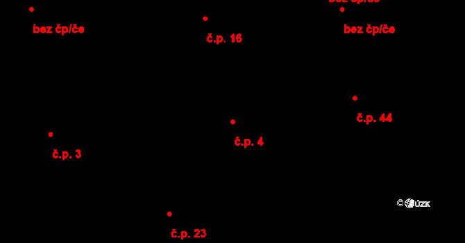 Nové Sady 4 na parcele st. 8 v KÚ Nové Sady, Katastrální mapa