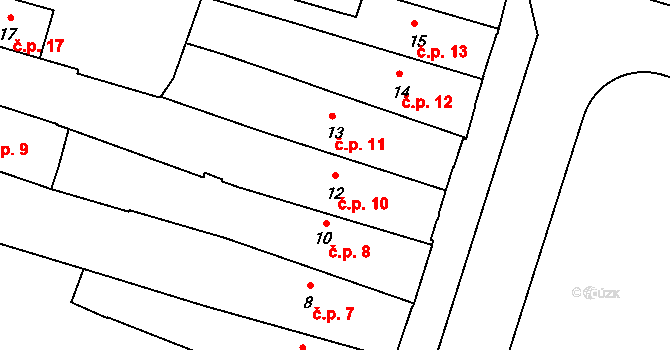 České Budějovice 1 10, České Budějovice na parcele st. 12 v KÚ České Budějovice 1, Katastrální mapa