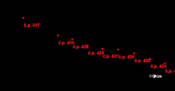 Mladcová 428, Zlín na parcele st. 780 v KÚ Mladcová, Katastrální mapa