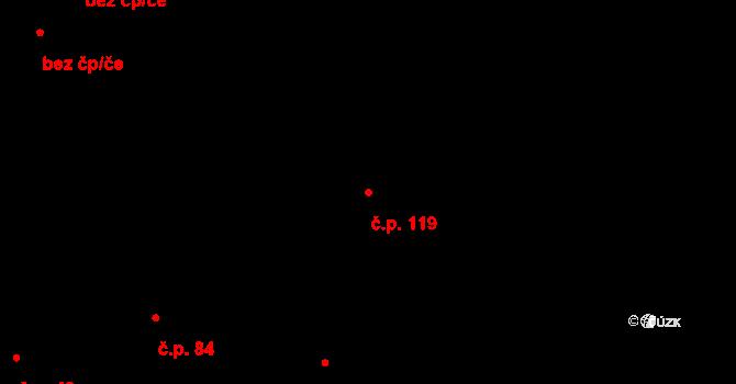 Vlčková 119 na parcele st. 233 v KÚ Vlčková, Katastrální mapa