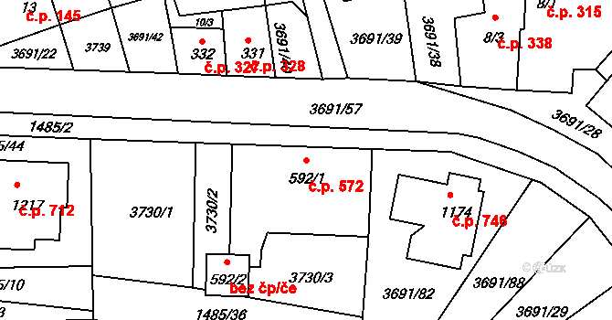 Žirovnice 572 na parcele st. 592/1 v KÚ Žirovnice, Katastrální mapa