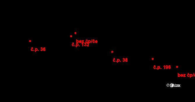 Písková Lhota 38 na parcele st. 99 v KÚ Písková Lhota u Poděbrad, Katastrální mapa