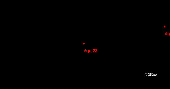 Okříšky 22 na parcele st. 28 v KÚ Okříšky, Katastrální mapa