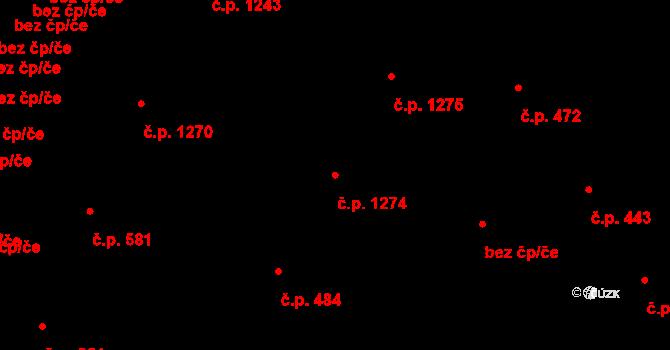 Hradec Králové 1274 na parcele st. 563/6 v KÚ Hradec Králové, Katastrální mapa