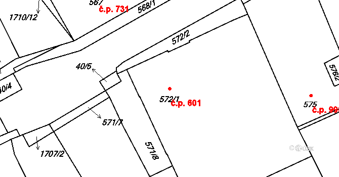 Dubí 601, Kladno na parcele st. 572/1 v KÚ Dubí u Kladna, Katastrální mapa