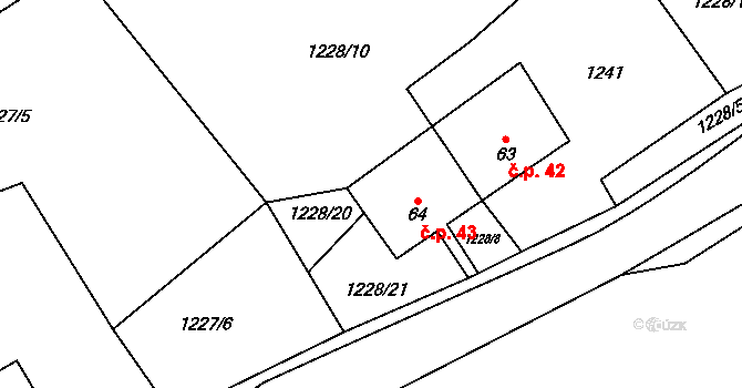 Budeč 43 na parcele st. 64 v KÚ Budeč, Katastrální mapa