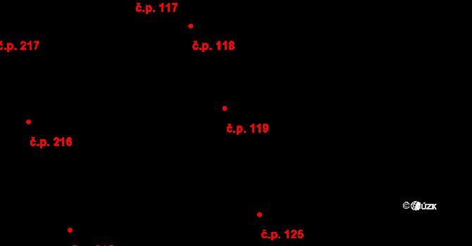 Pátek 119 na parcele st. 192 v KÚ Pátek u Poděbrad, Katastrální mapa
