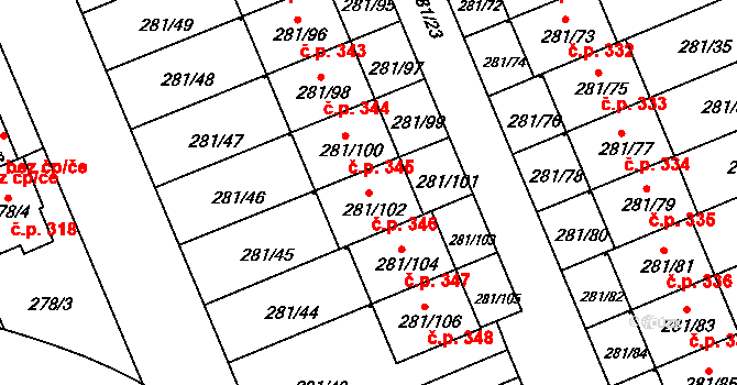 Hradiště 346, Plzeň na parcele st. 281/102 v KÚ Hradiště u Plzně, Katastrální mapa