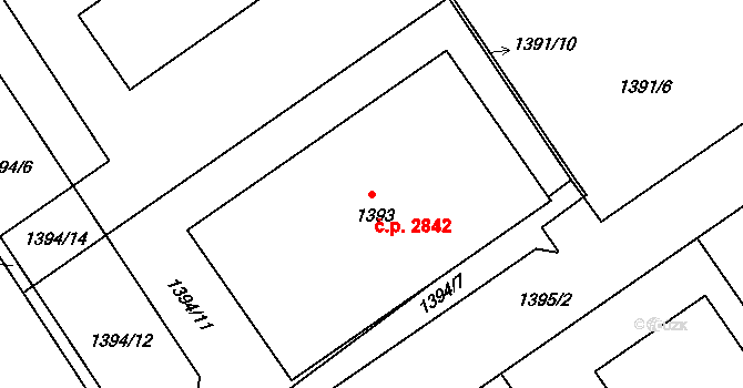 České Budějovice 3 2842, České Budějovice na parcele st. 1393 v KÚ České Budějovice 3, Katastrální mapa