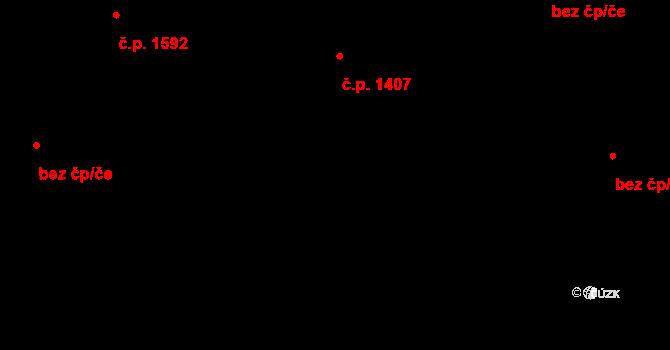 Aš 1407 na parcele st. 1413/1 v KÚ Aš, Katastrální mapa