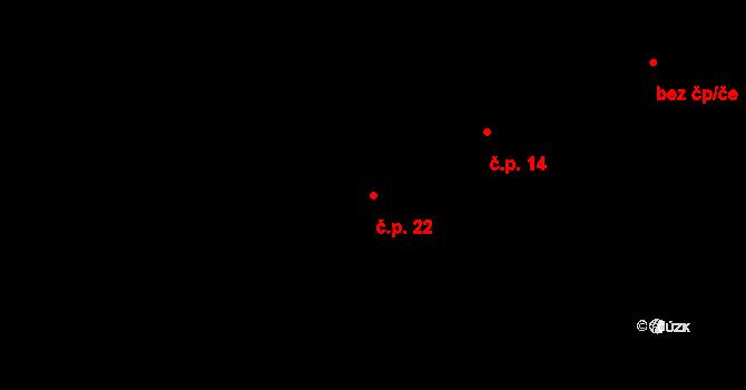 Radešín 22, Petrovice na parcele st. 34 v KÚ Radešín, Katastrální mapa