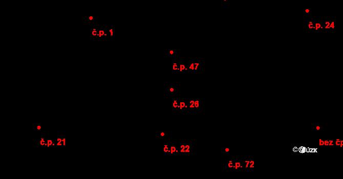 Tři Dvory 26, Litovel na parcele st. 80 v KÚ Tři Dvory u Litovle, Katastrální mapa