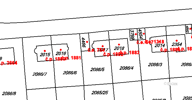 Aš 1882 na parcele st. 2017 v KÚ Aš, Katastrální mapa