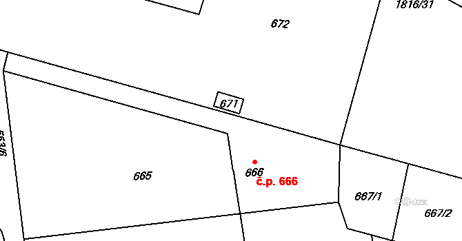 Šenov 666 na parcele st. 666 v KÚ Šenov u Ostravy, Katastrální mapa