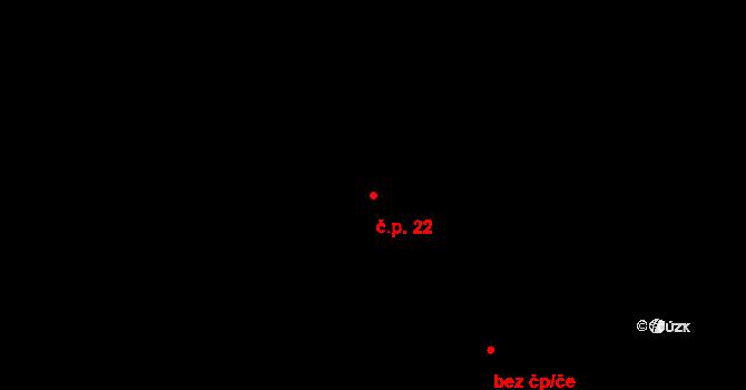 Dešenice 22 na parcele st. 43/1 v KÚ Dešenice, Katastrální mapa
