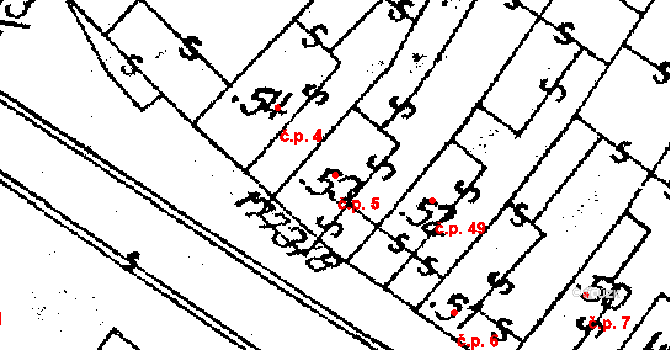 Vepřová 5 na parcele st. 53 v KÚ Vepřová, Katastrální mapa