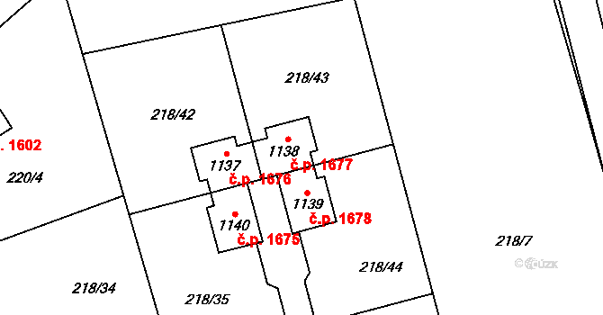 Švermov 1677, Kladno na parcele st. 1138 v KÚ Hnidousy, Katastrální mapa