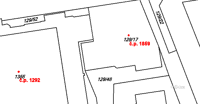 Krč 1859, Praha na parcele st. 129/17 v KÚ Krč, Katastrální mapa