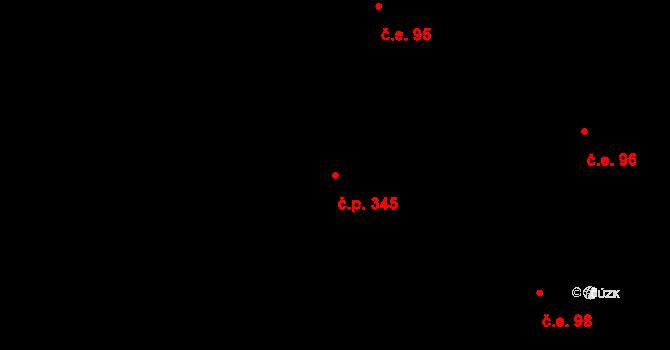 Přízřenice 345, Brno na parcele st. 603/6 v KÚ Přízřenice, Katastrální mapa