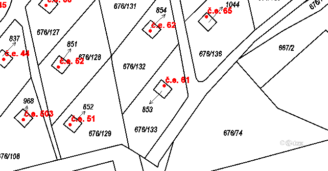 Prštné 61, Zlín na parcele st. 853 v KÚ Prštné, Katastrální mapa