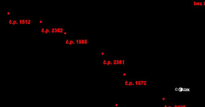 Zlín 2381 na parcele st. 1848 v KÚ Zlín, Katastrální mapa