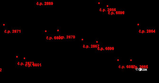Zlín 2867 na parcele st. 3710/1 v KÚ Zlín, Katastrální mapa
