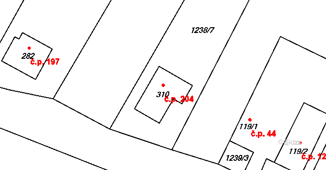 Plavsko 204 na parcele st. 310 v KÚ Plavsko, Katastrální mapa