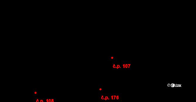 Hrubý Jeseník 107 na parcele st. 107 v KÚ Hrubý Jeseník, Katastrální mapa