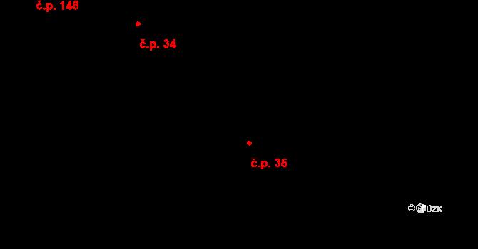 Luka nad Jihlavou 35 na parcele st. 134 v KÚ Luka nad Jihlavou, Katastrální mapa