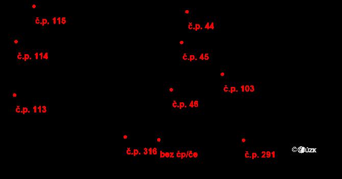 Prace 46 na parcele st. 478/1 v KÚ Prace, Katastrální mapa