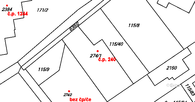 Nová Ulice 240, Olomouc na parcele st. 274/1 v KÚ Nová Ulice, Katastrální mapa