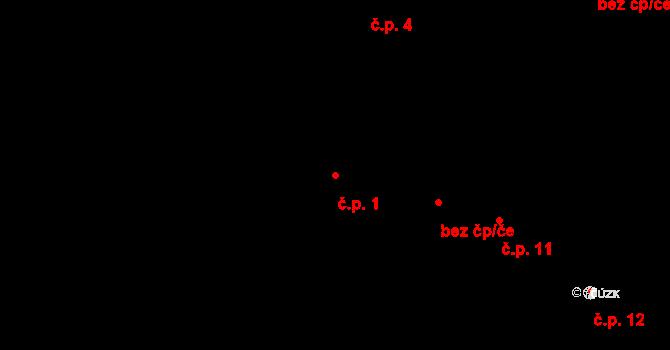 České Budějovice 6 1, České Budějovice na parcele st. 1/1 v KÚ České Budějovice 6, Katastrální mapa