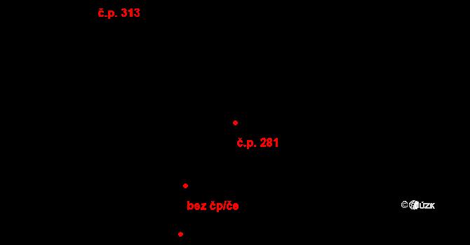 Hradec Králové 281 na parcele st. 393/1 v KÚ Hradec Králové, Katastrální mapa
