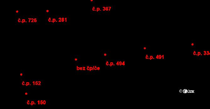 Malšovice 494, Hradec Králové na parcele st. 596 v KÚ Malšovice u Hradce Králové, Katastrální mapa