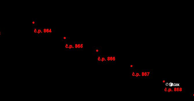 Most 866 na parcele st. 4975/27 v KÚ Most II, Katastrální mapa