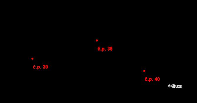 Lhota u Olešnice 38 na parcele st. 39 v KÚ Lhota u Olešnice, Katastrální mapa